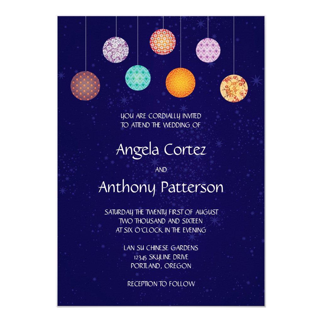 Colorful Chinese Pattern Paper Lanterns Wedding Card