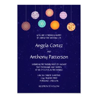 Colorful Chinese Pattern Paper Lanterns Wedding Card