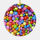 Colorful Chocolate Candy Pattern Double-Sided Ceramic Round Christmas Ornament