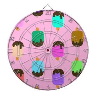 Colorful chocolate covered Ice pops dartboard