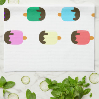 Colorful Chocolate Covered Ice pops kitchen towel