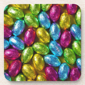 Colorful Chocolate Easter Eggs For Background Coaster
