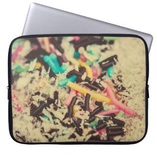 Colorful chocolate sprinkles macro laptop computer sleeves