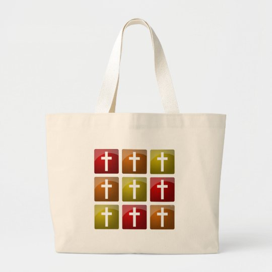 Colorful Christian Crosses Large Tote Bag