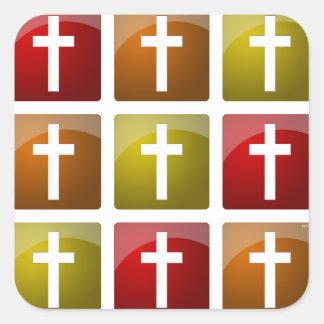 Colorful Christian Crosses Square Sticker