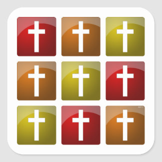 Colorful Christian Crosses Stickers