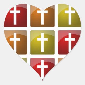 Colorful Christian Crosses Heart Sticker