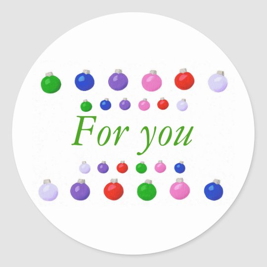 Colorful Christmas Balls border, For You, stickers
