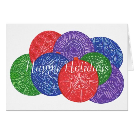 Colorful Christmas balls greeting cards