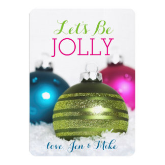Colorful Christmas balls in the snow Card