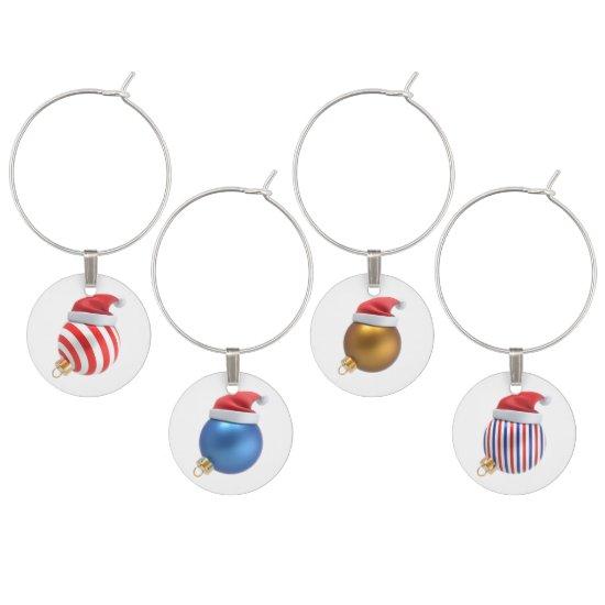 Colorful Christmas Balls Wine Charms