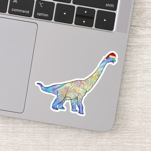Colorful Christmas Brachiosaurus Festive Dinosaur Sticker