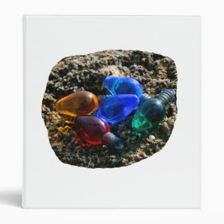 Colorful Christmas Bulbs in Beach Sand Photograph 3 Ring Binder