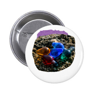 Colorful Christmas Bulbs in Beach Sand Photograph Pinback Button