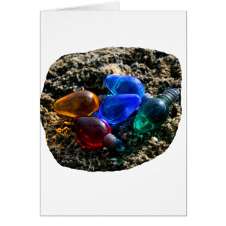 Colorful Christmas Bulbs in Beach Sand Photograph Greeting Card