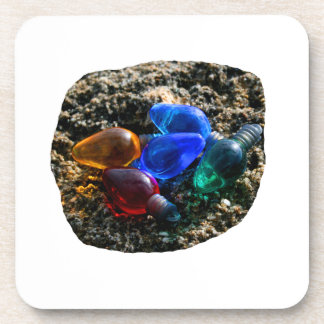 Colorful Christmas Bulbs in Beach Sand Photograph Drink Coasters