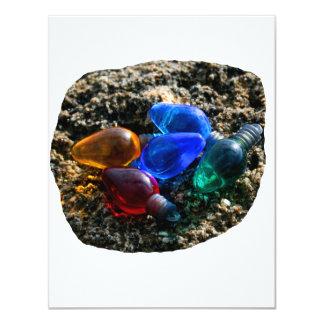 Colorful Christmas Bulbs in Beach Sand Photograph 4.25x5.5 Paper Invitation Card