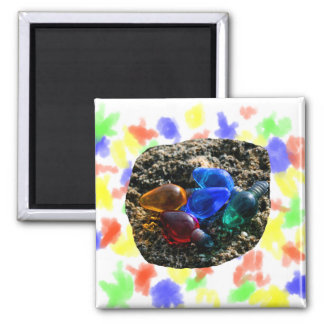 Colorful Christmas Bulbs in Beach Sand Photograph Refrigerator Magnet