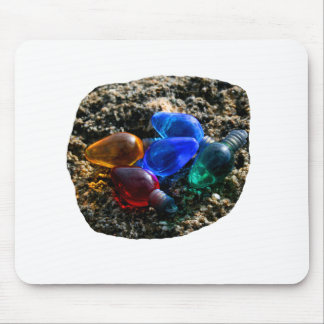 Colorful Christmas Bulbs in Beach Sand Photograph Mouse Pad