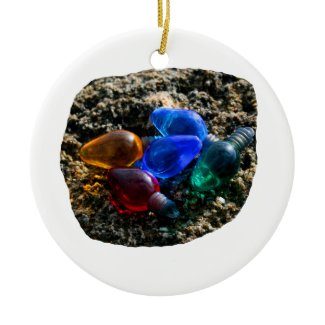 Colorful Christmas Bulbs in Beach Sand Photograph ornament