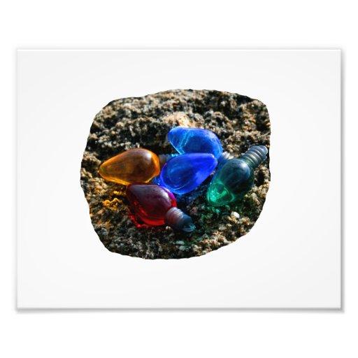 Colorful Christmas Bulbs in Beach Sand Photograph