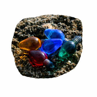 Colorful Christmas Bulbs in Beach Sand Photograph Photo Cut Out