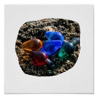 Colorful Christmas Bulbs in Beach Sand Photograph Posters