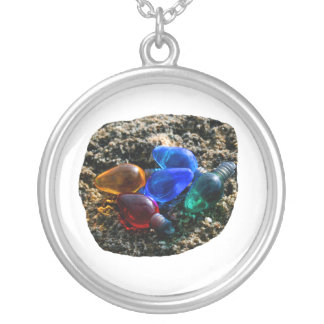 Colorful Christmas Bulbs in Beach Sand Photograph Round Pendant Necklace