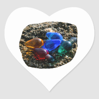 Colorful Christmas Bulbs in Beach Sand Photograph Heart Stickers