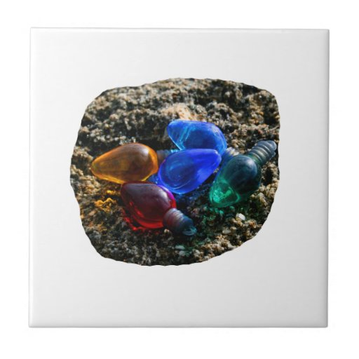 Colorful Christmas Bulbs in Beach Sand Photograph Small Square Tile