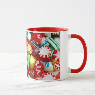 Colorful christmas candy mug