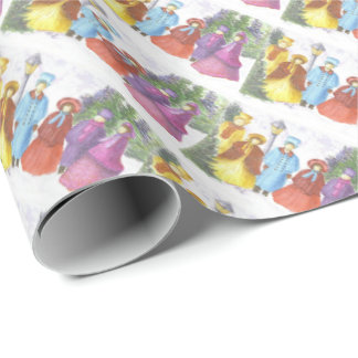 Colorful Christmas Carolers Wrapping Paper