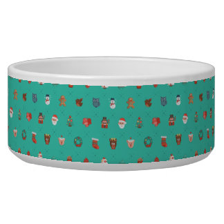 Colorful Christmas Characters Seamless Pattern Bowl