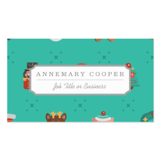 Colorful Christmas Characters Seamless Pattern Business Card
