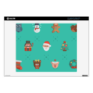"Colorful Christmas Characters Seamless Pattern Decal For 14"" Laptop"