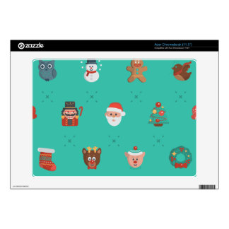 Colorful Christmas Characters Seamless Pattern Decal For Acer Chromebook