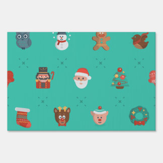 Colorful Christmas Characters Seamless Pattern Lawn Sign