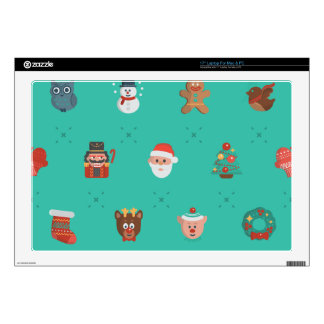 "Colorful Christmas Characters Seamless Pattern Skins For 17"" Laptops"