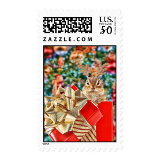 Colorful Christmas Chipmunk Postage