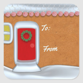 Colorful Christmas Gingerbread House Gift Label