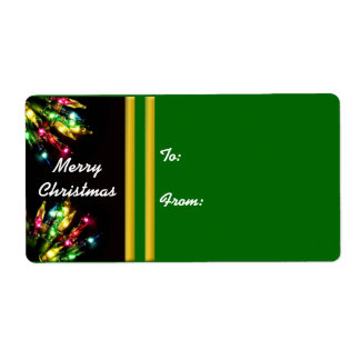 Colorful Christmas Light Border Label