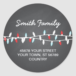 Colorful Christmas Lights Address Label Classic Round Sticker