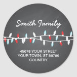 Colorful Christmas Lights Address Label Round Stickers