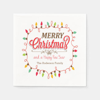 Colorful Christmas Lights Holiday Paper Napkins