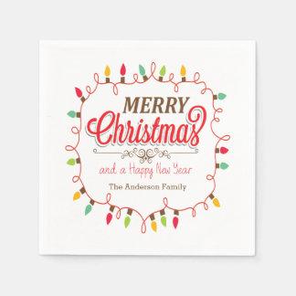 Colorful Christmas Lights Holiday Paper Napkins Disposable Napkin