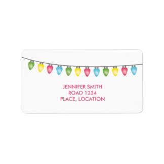 Colorful Christmas Lights Label