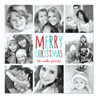 Colorful Christmas Modern Photo Collage Card