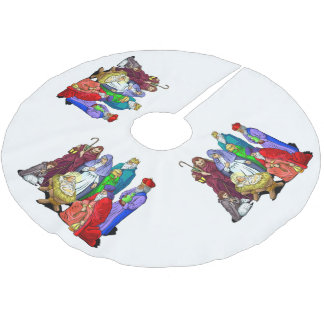 Colorful Christmas Nativity Scene Brushed Polyester Tree Skirt