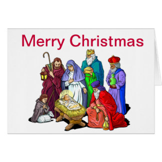Colorful Christmas Nativity Scene Card
