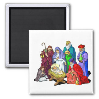Colorful Christmas Nativity Scene Magnet